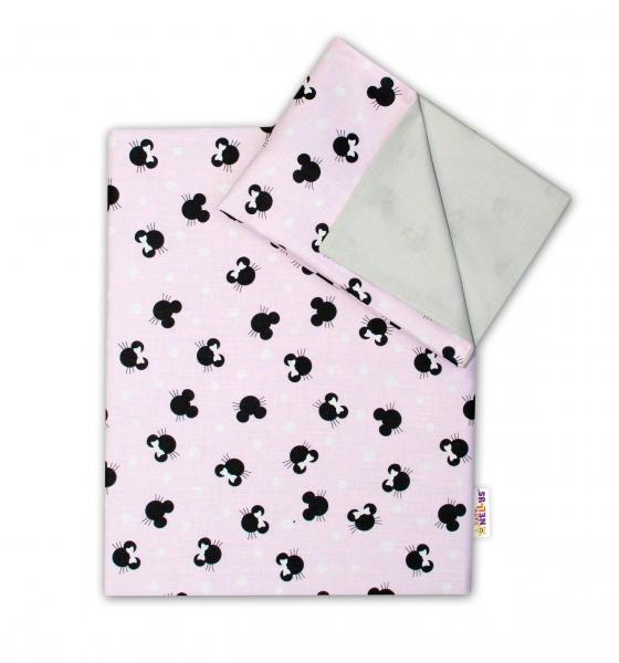 2-dílné bavlněné povlečení Baby Nellys - Minnie, růžová/šedá, 135 x 100, Velikost: 135x100