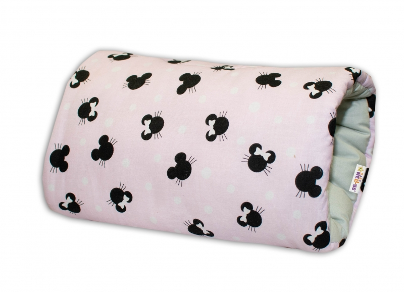 Bavlněný kojící polštář na ruku Baby Nellys - Minnie, růžová/šedá