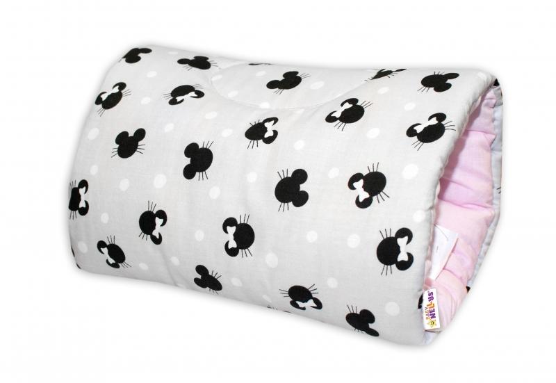 Bavlněný kojící polštář na ruku Baby Nellys - Minnie, šedá/růžová