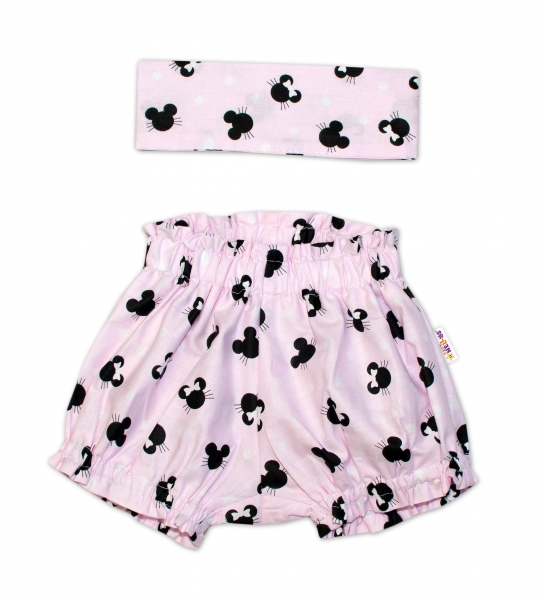 Bavlněné kraťásky s čelenkou Baby Nellys - Minnie růžové, vel. 0 - 1 rok