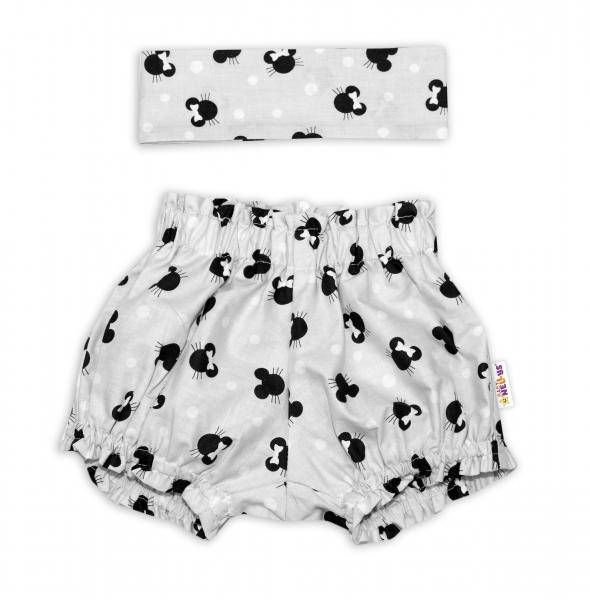 Bavlněné kraťásky s čelenkou Baby Nellys - Minnie šedé, vel.  0 -1 rok