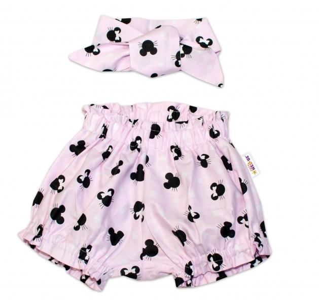 Bavlněné kraťásky s čelenkou Baby Nellys - Minnie růžové, vel. 1 - 4 roky