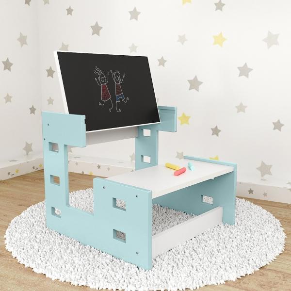 Nellys dřevěný multifunkční stolek s tabulí 2v1 - mátový