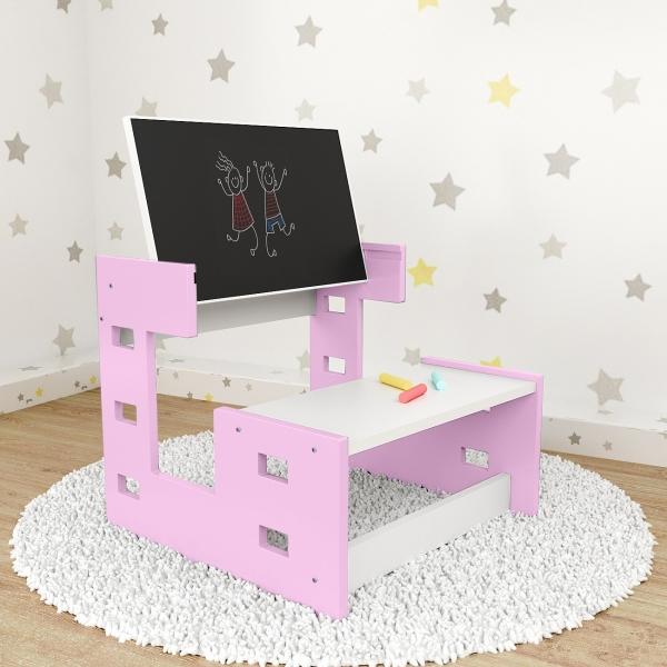 Nellys dřevěný multifunkční stolek s tabulí 2v1 - růžový