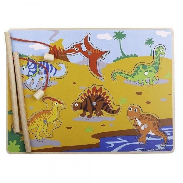 Bigjigs dřevěné magnetické puzzle - dinosauři