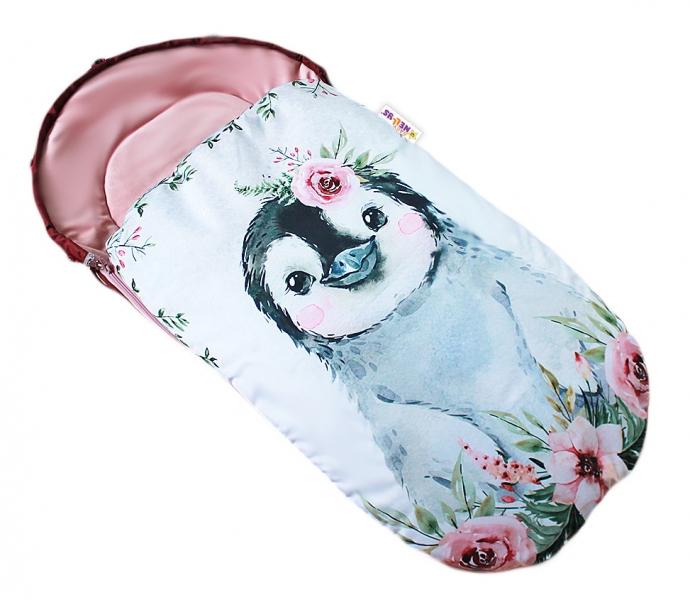 Dětský fusák Baby Nellys WINTER LUXURY velvet, 105 x 55 cm - tučnák / pudrově růžová