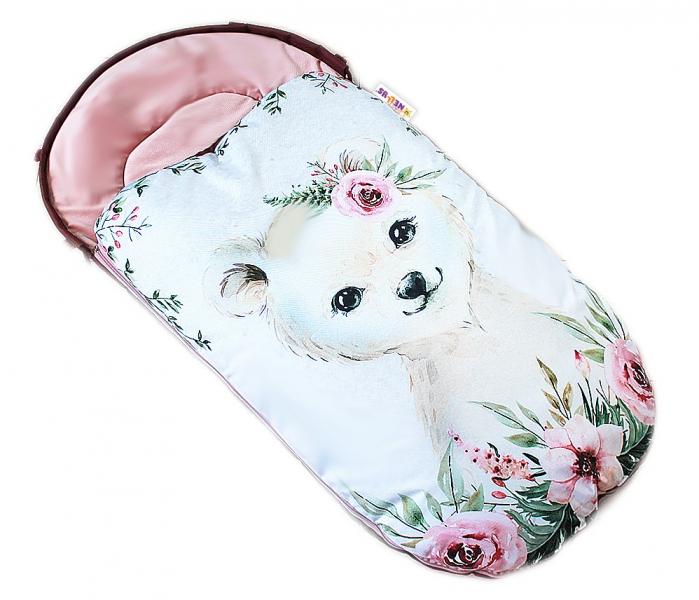 detsky-fusak-baby-nellys-winter-luxury-velvet-105-x-55-cm-medvidek-pudrove-ruzova