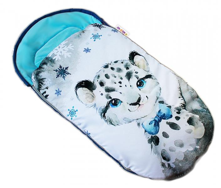 Dětský fusák Baby Nellys WINTER LUXURY velvet, 105 x 55 cm - gepardík / tyrkys