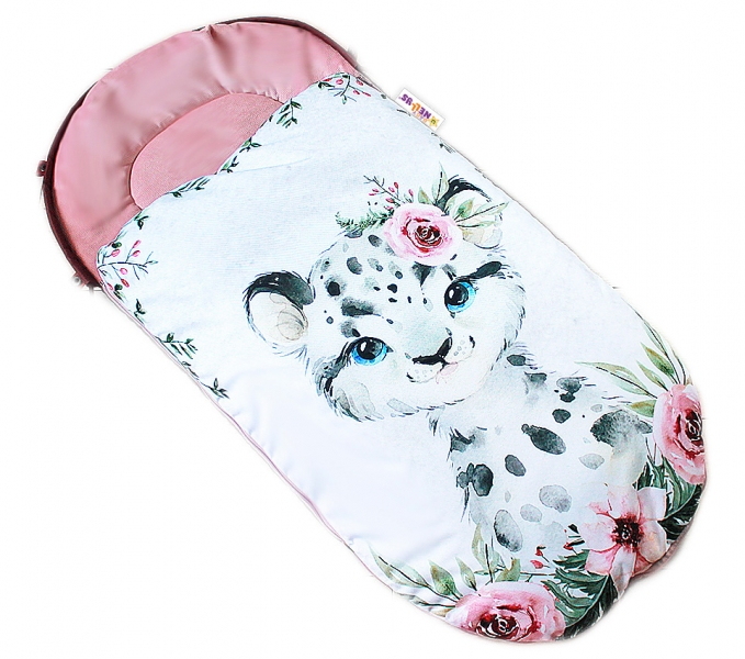 Dětský fusák Baby Nellys WINTER LUXURY velvet, 105 x 55 cm - gepardík / pudrově růžová
