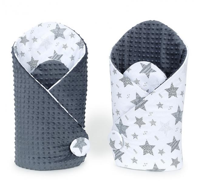 Mamo Tato Oboustranná zavinovačka Minky Baby - Starmix šedá/grafit