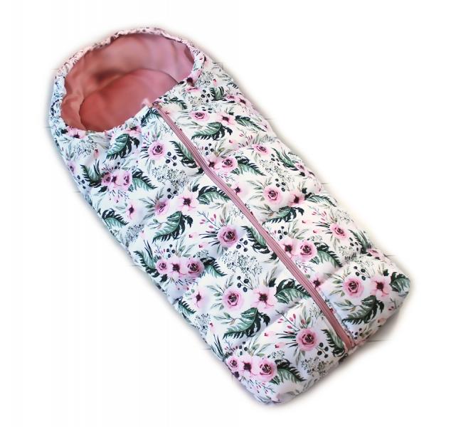 Dětský fusak Baby Nellys ARTIC LUX velvet, 95 x 45 cm - květinky/růžový