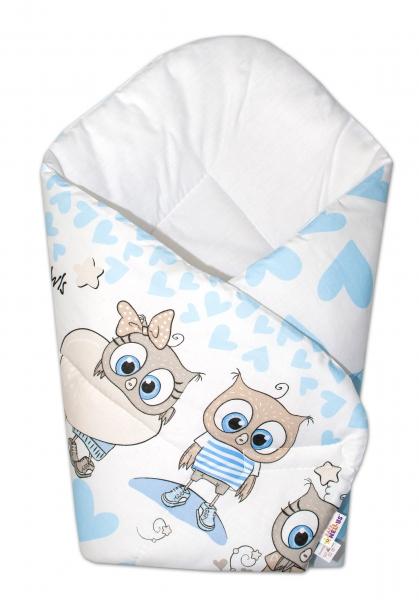 Novorozenecká zavinovačka Cute Owls, 75x75 cm, Baby Nellys - modrá