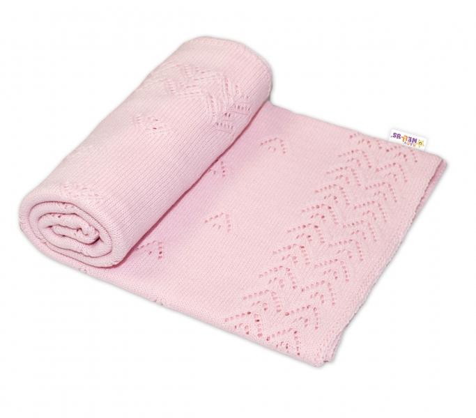 Dětská akrylová deka, dečka Baby Nellys, 90 x 90 cm - jemný vzor - sv. růžová