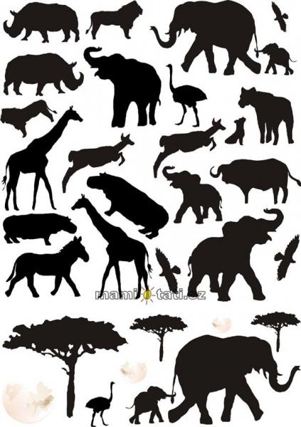 Nálepky, dekorace na stěnu 70x100 cm - Afrika