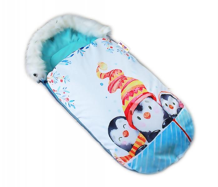 Fusak Baby Nellys Winter Friends Lux velvet s kožešinkou, 105x55 cm - kamarádi/tyrkys