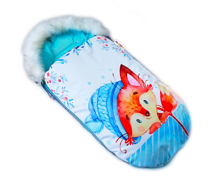 fusak-baby-nellys-winter-friends-lux-velvet-s-kozesinkou-105x55-cm-liska-tyrkys