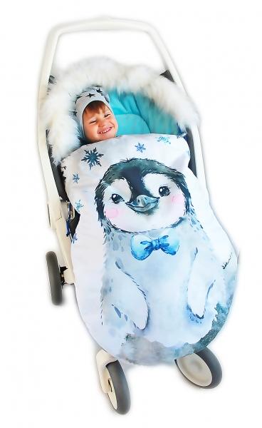 Fusak Baby Nellys Winter Friends Lux velvet s kožešinkou, 105x55 cm - tučňák /tyrkys