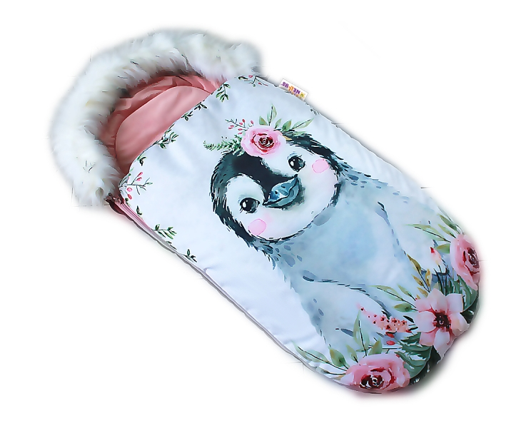 fusak-baby-nellys-winter-friends-lux-velvet-s-kozesinkou-105x55-cm-tucnak-pudrove-ruzo