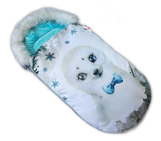 Fusak Baby Nellys Winter Friends Lux velvet s kožešinkou, 105x55 cm - lachtan/tyrkys