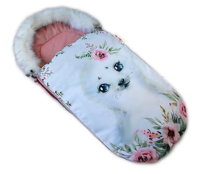 fusak-baby-nellys-winter-friends-lux-velvet-s-kozesinkou-105x55-cm-lachtan-pudrove-ruz