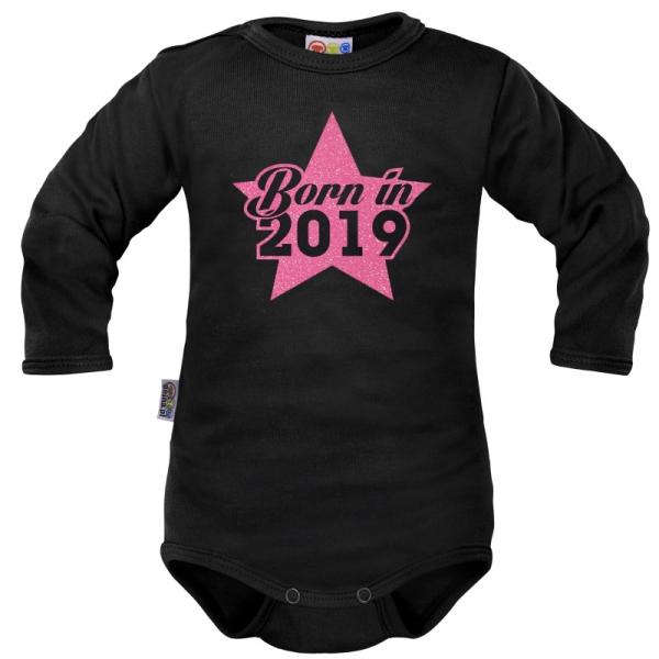 Body dlouhý rukáv Dejna Born in 2019 - černo/růžové, vel. 74, Velikost: 74 (6-9m)