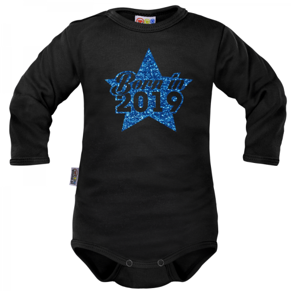 Body dlouhý rukáv Dejna Born in 2019 - černo/modré, Velikost: 62 (2-3m)