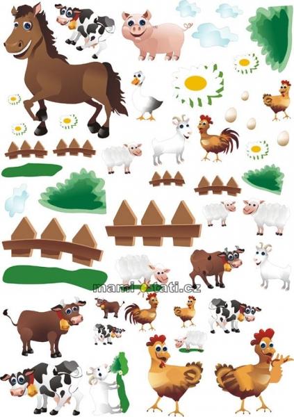 Nálepky, dekorace na stěnu 70x100 cm - Farma