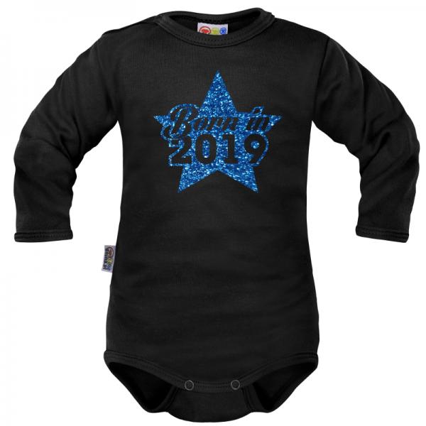 Body dlouhý rukáv Dejna Born in 2019 - černo/modré, vel. 74, Velikost: 74 (6-9m)