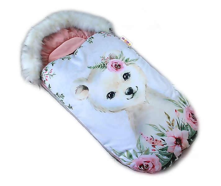 fusak-baby-nellys-winter-friends-lux-velvet-s-kozesinkou-105x55-cm-medvid-pudrove-ruz