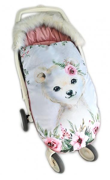 Fusak Baby Nellys Winter Friends Lux velvet s kožešinkou, 105x55 cm - medvíd./pudrově růž.