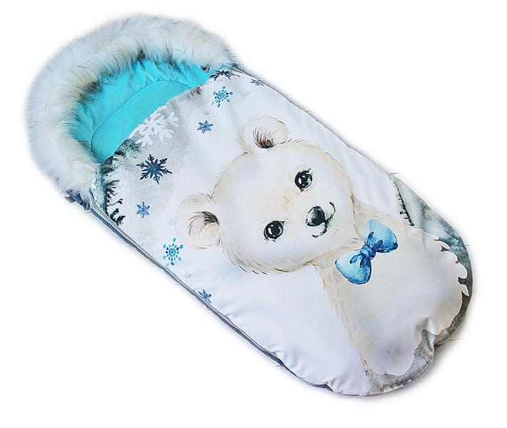 fusak-baby-nellys-winter-friends-lux-velvet-s-kozesinkou-105x55-cm-medvid-tyrkys
