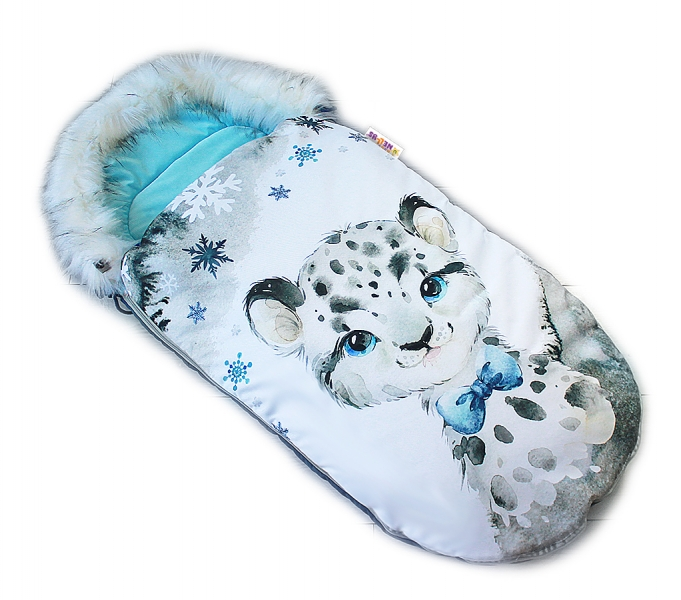 Fusak Baby Nellys Winter Friends Lux velvet s kožešinkou, 105x55 cm - gepardík/tyrkys