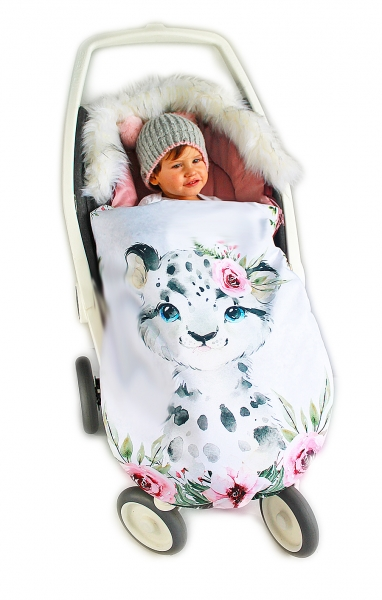 Fusak Baby Nellys Winter Friends Lux velvet s kožešinkou, 105x55 cm - gepardík/pudrová