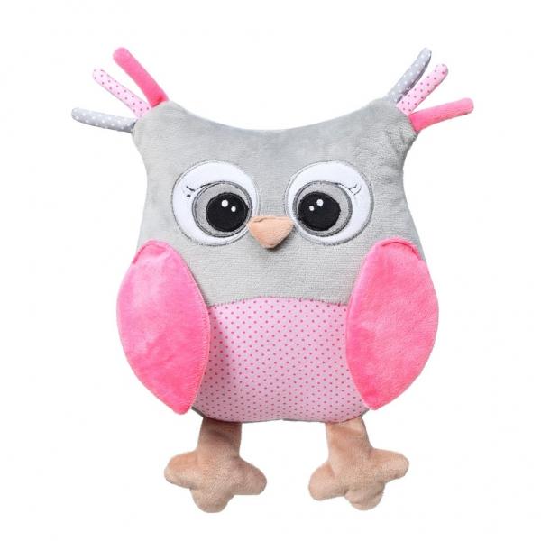 BabyOno Plyšová hračka s chrastítkem Owl Sofia - růžová