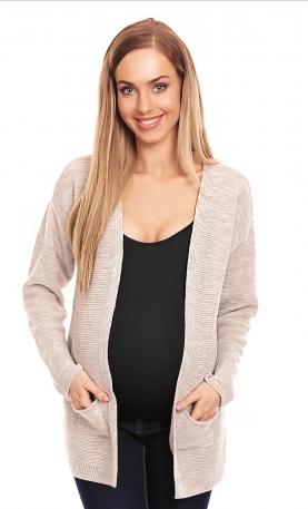 Be MaaMaa Těhotenský svetřík, kardigan s kapsami - smetanový