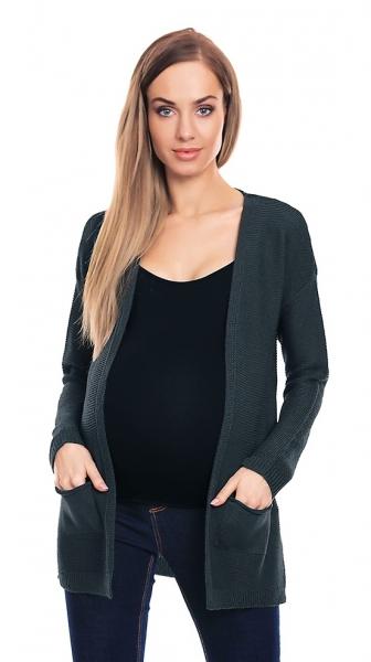 Be MaaMaa Těhotenský svetřík, kardigan s kapsami - grafitový