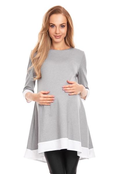 Be MaaMaa Těhotenské asymetrické mini šaty/tunika - šedé, vel. L/XL