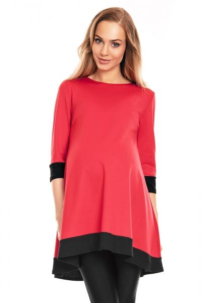 Be MaaMaa Těhotenské asymetrické mini šaty/tunika - červené, Velikost: S/M