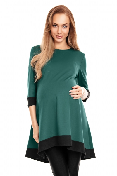 Be MaaMaa Těhotenské asymetrické mini šaty/tunika - zelené