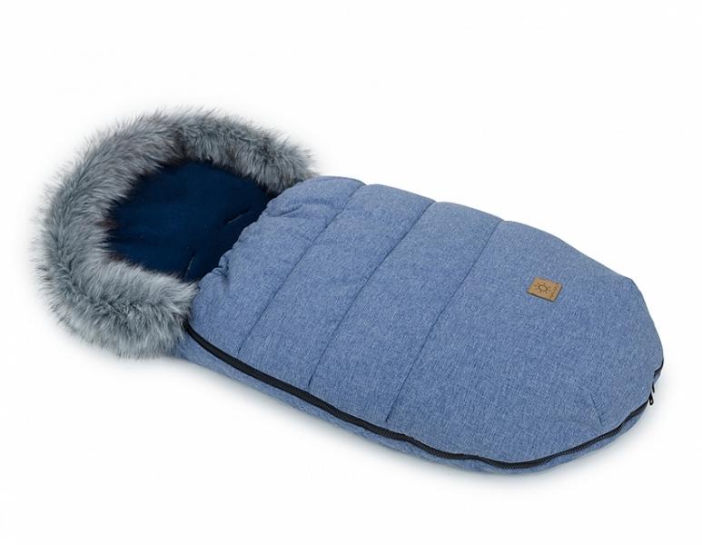 Mamo Tato Zimní fusak Lux s kožešinkou, 50 x 100cm - Jeans/granátový/bavlněný