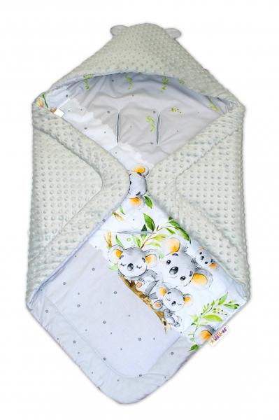 Oteplená zavinovací deka s kapucí minky,Baby Nellys - Medvídek Koala - šedá