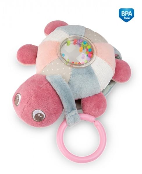 Závěsná plyšová svítící hračka s melodii a chrastítkem Canpol Babies Želva - růžová