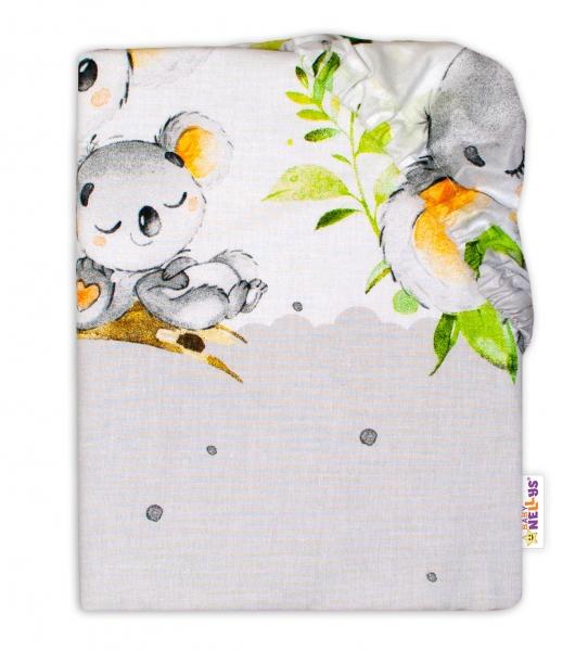 Baby Nellys Dětské bavlněné prostěradlo do postýlky - Medvídek Koala, šedá, roz. 140 x 70