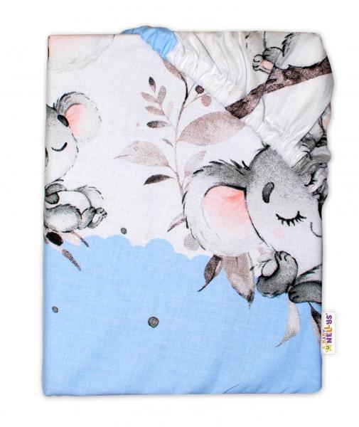 Baby Nellys Dětské bavlněné prostěradlo do postýlky - Medvídek Koala, modrá, 140 x 70 cm