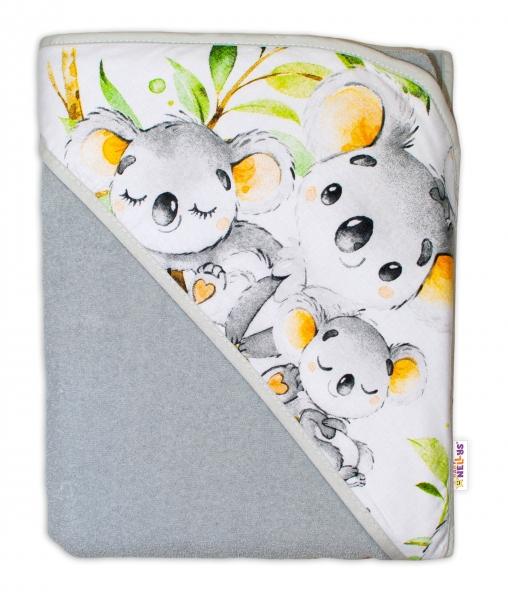 Dětská termoosuška s kapucí Baby Nellys, Medvídek Koala, 100 x 100 cm  - šedá