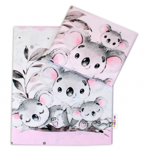 2-dílné bavlněné povlečení Baby Nellys - Medvídek Koala - růžový