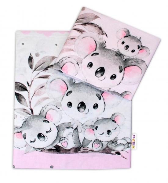 2-dílné bavlněné povlečení Baby Nellys - Medvídek Koala - růžový, roz. 135 x 100 cm