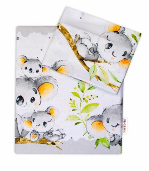 2-dílné bavlněné povlečení Baby Nellys - Medvídek Koala - šedý, roz. 135 x 100 cm