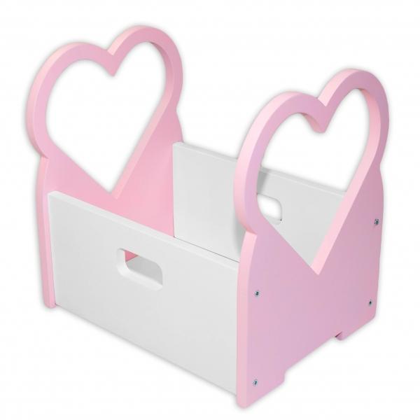 NELLYS Dřevěný box na hračky Srdíčko - růžové