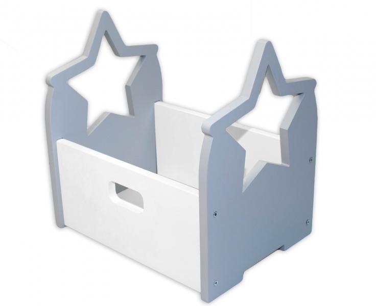 NELLYS Dřevěný box na hračky Hvězdička - šedá